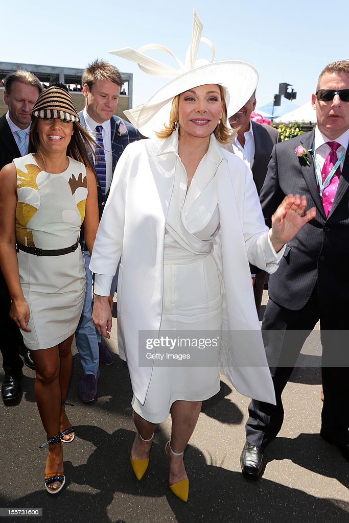 Actress Kim Cattrall arrives at the Birdcage Enclosure on Crown Oaks Day at Flemington Racecourse on November 8, 2012 in Melbourne, Australia.