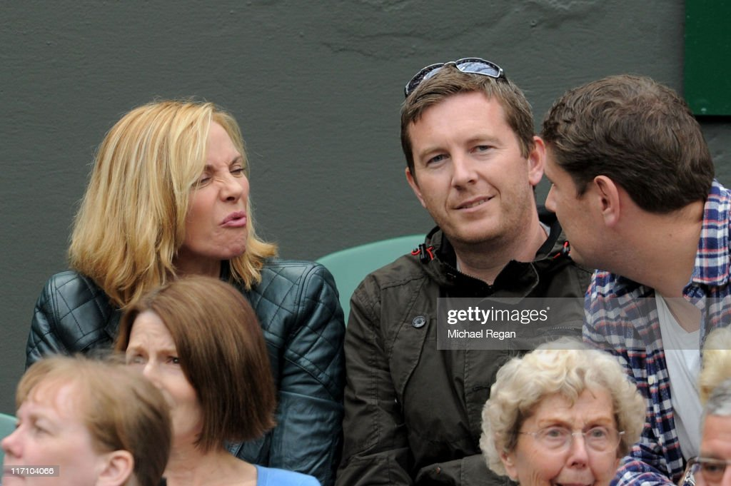 Actress <a gi-track='captionPersonalityLinkClicked' href=/galleries/search?phrase=Kim+Cattrall&family=editorial&specificpeople=202214 ng-click='$event.stopPropagation()'>Kim Cattrall</a> watches the second round match between Venus Williams of the United States and Kimiko Date-Krumm of Japan on Day Three of the Wimbledon Lawn Tennis Championships at the All England Lawn Tennis and Croquet Club on June 22, 2011 in London, England.
