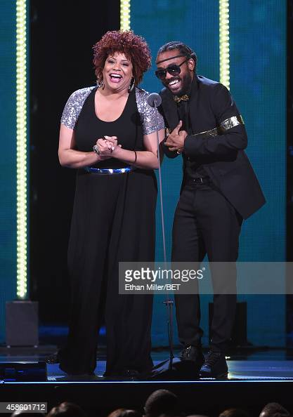Actress Kim Coles and recording artist Machel Montano speak onstage during the 2014 Soul Train Music Awards at the Orleans Arena on November 7 2014...