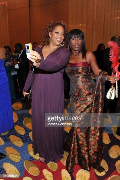 Actress Kim Coles and television host KiKi Shepard attend the 26th anniversary UNCF Mayor's Masked Ball at Atlanta Marriot Marquis on December 19...