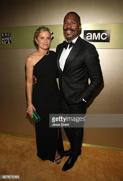 Actress Kim Dickens and actor Colman Domingo attend AMC Networks Emmy Party at BOA Steakhouse on September 18 2016 in West Hollywood California