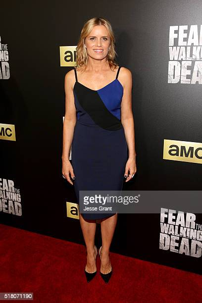 Actress Kim Dickens attends the season 2 premiere of 'Fear the Walking Dead' at Cinemark Playa Vista on March 29 2016 in Los Angeles California