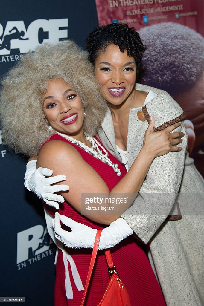 Actress <a gi-track='captionPersonalityLinkClicked' href=/galleries/search?phrase=Kim+Fields&family=editorial&specificpeople=892096 ng-click='$event.stopPropagation()'>Kim Fields</a> and Lisa Arrindell Anderson attend 'Race' movie screening at Regal Atlantic Station on February 1, 2016 in Atlanta, Georgia.