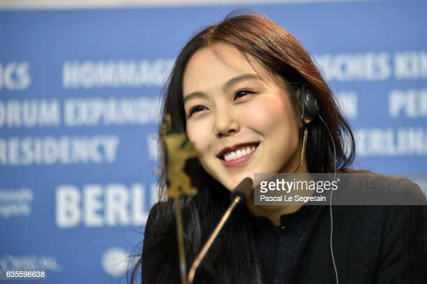 Actress Kim Minhee attends the 'On the Beach at Night Alone' press conference during the 67th Berlinale International Film Festival Berlin at Grand...