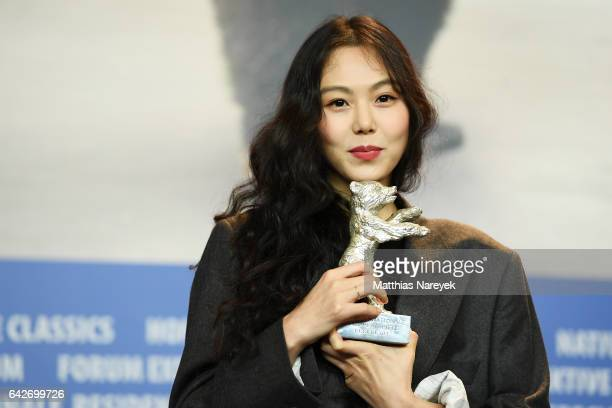 Actress Kim Minhee winner of the Silver Bear award for best actress award attends the award winners press conference during the 67th Berlinale...
