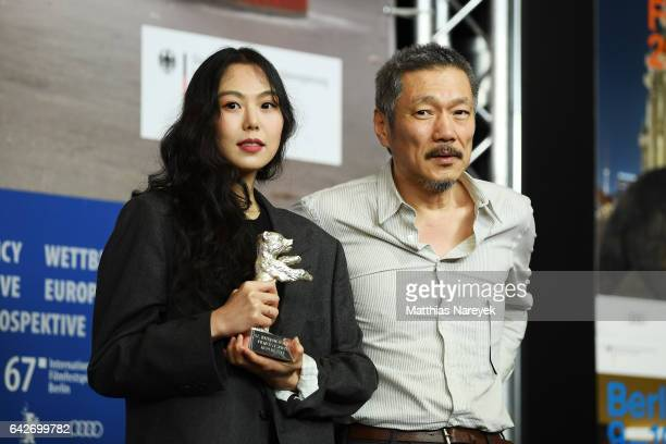 Actress Kim Minhee winner of the Silver Bear award for best actress award and director Hong Sangsoo attend the award winners press conference during...