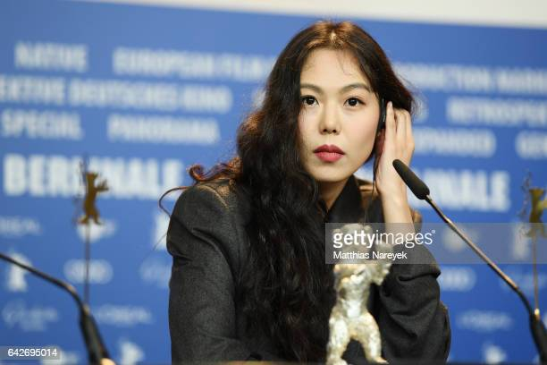 Actress Kim Minhee winner of the Silver Bear for Best Actress attends the award winners press conference during the 67th Berlinale International Film...