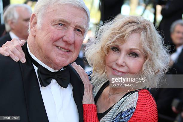 US actress Kim Novak and her husband Robert Malloy pose on May 26 2013 as they arrive for the screening of the film 'Zulu' presented Out of...