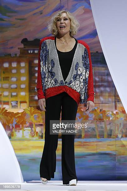 US actress Kim Novak arrives on stage to hand on May 26 2013 the Grand Prix during the closing ceremony of the 66th Cannes film festival in Cannes...