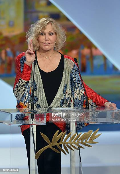 US actress Kim Novak gestures while announcing on May 26 2013 the Grand Prix during the closing ceremony of the 66th Cannes film festival in Cannes...