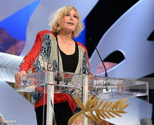Actress Kim Novak speaks on stage at the Closing Ceremony during the 66th Annual Cannes Film Festival at the Palais des Festivals on May 26 2013 in...