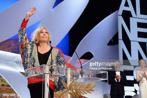 Actress Kim Novak speaks on stage during the Closing Ceremony of the 66th Annual Cannes Film Festival at the Palais des Festivals on May 26 2013 in...