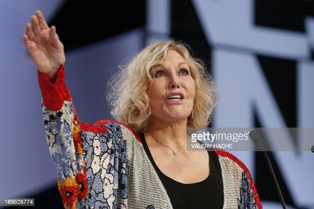 US actress Kim Novak speaks on stage to announce on May 26 2013 the Grand Prix during the closing ceremony of the 66th Cannes film festival in Cannes...