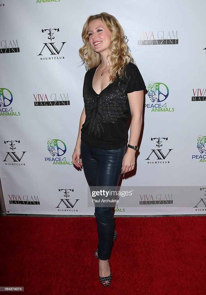 Actress Kim Poirier attends the Viva Glam Magazine April launch party in support of Peace 4 Animals at AV Nightclub on March 22, 2013 in Hollywood, California.