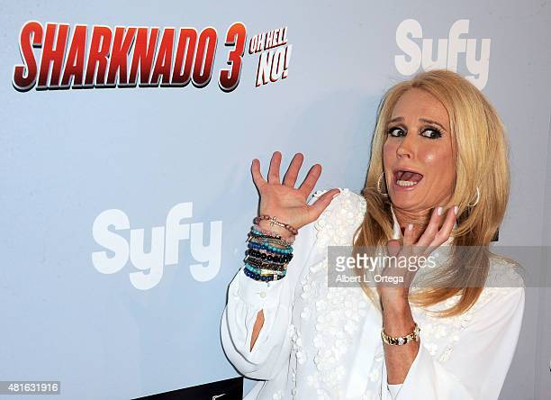 Actress Kim Richards arrives for the premiere of the Asylum's 'Sharknado 3 Oh Hell No' held at iPic Theaters on July 22 2015 in Los Angeles California
