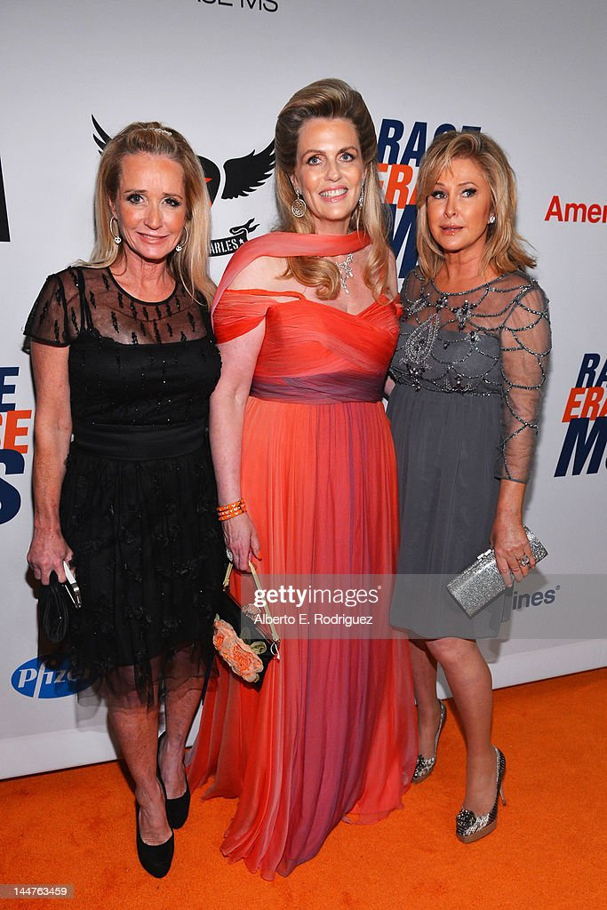 Actress Kim Richards, host Nancy Davis and Kathy Hilton arrive at the 19th Annual Race to Erase MS held at the Hyatt Regency Century Plaza on May 18, 2012 in Century City, California.