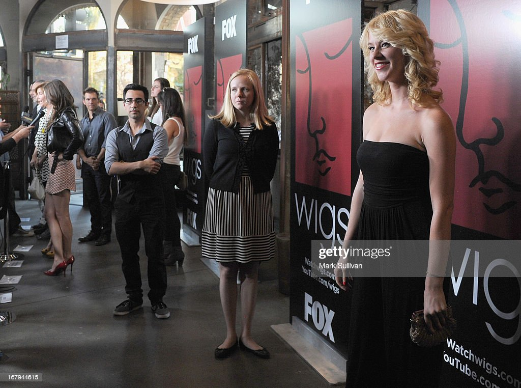 Actress Kim Shaw (R) arrives for the party to celebrate the one year anniversary of The WIGS Digital Channel at Akasha on May 2, 2013 in Culver City, California.
