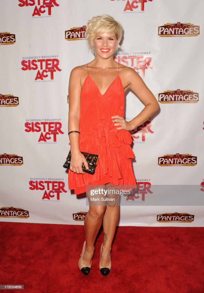 Actress <a gi-track='captionPersonalityLinkClicked' href=/galleries/search?phrase=Kimberly+Caldwell&family=editorial&specificpeople=228566 ng-click='$event.stopPropagation()'>Kimberly Caldwell</a> attends the premiere of 'Sister Act' at the Pantages Theatre on July 9, 2013 in Hollywood, California.