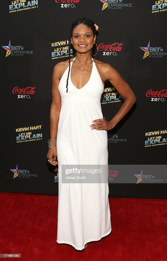 Actress <a gi-track='captionPersonalityLinkClicked' href=/galleries/search?phrase=Kimberly+Elise&family=editorial&specificpeople=211117 ng-click='$event.stopPropagation()'>Kimberly Elise</a> attends Movie Premiere 'Let Me Explain' with Kevin Hart during the 2013 BET Experience at Regal Cinemas L.A. Live on June 27, 2013 in Los Angeles, California.
