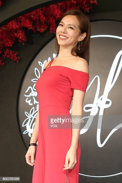 Actress Kimi Hsia arrives at the red carpet of the banquet held by Macau businessman Levo Chan and actress Ady An on June 23 2017 in Taipei Taiwan of...