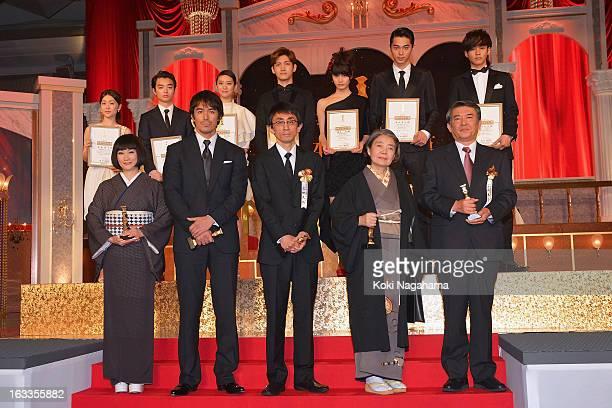 Actress Kimiko Yo Actor Hiroshi Abe Director Daihachi Yoshida Actress Kirin Kiki and Tetsuya Yamamoto representative of actor Hideji Otaki Actress...