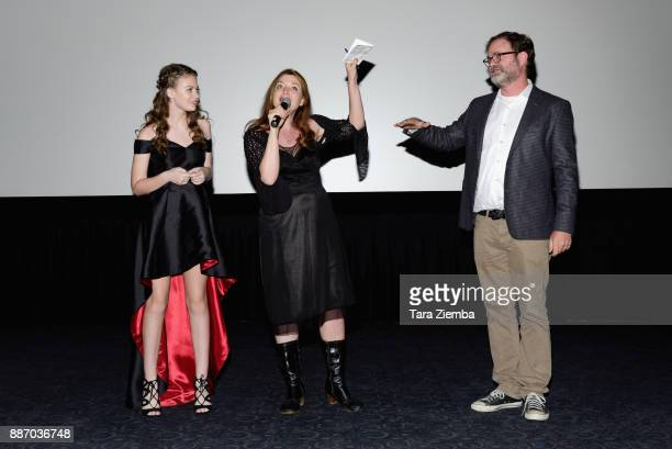 Actress Kira McLean writer/director Colette Burson and actor Rainn Wilson attend the Magnolia Pictures' Los Angeles premiere of 'Permanent' at Wood...