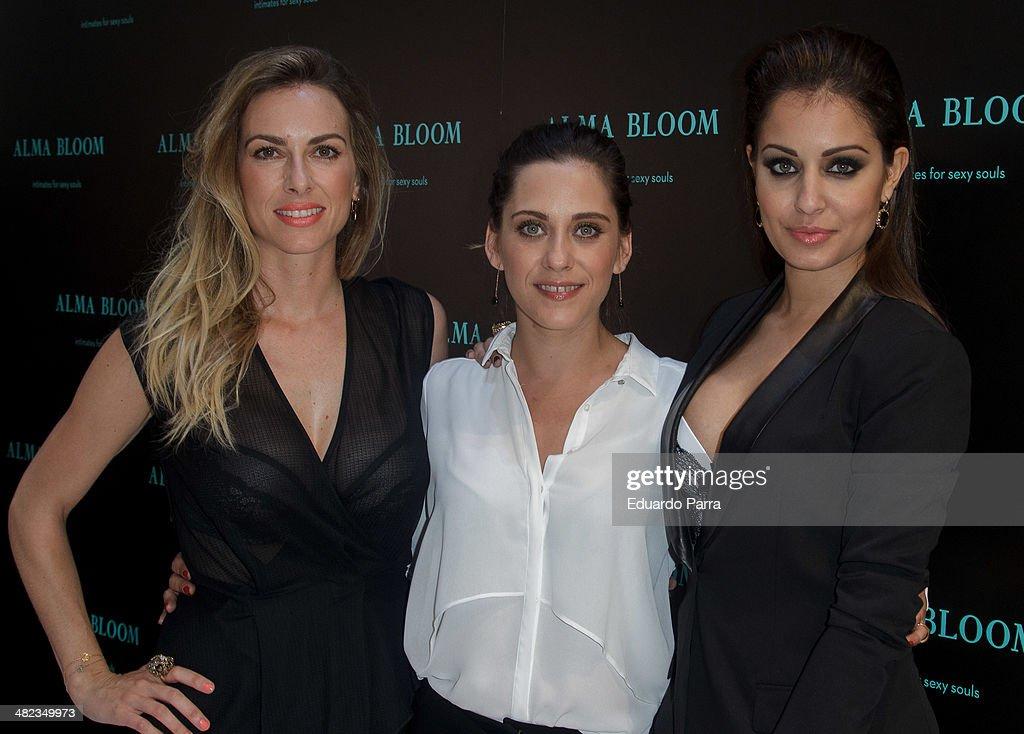 Actress Kira Miro Actress Maria Leon and actress Hiba Abouk attend 'Alma Bloom' opening party photocall at Alma Bloom flagship store on April 3 2014...