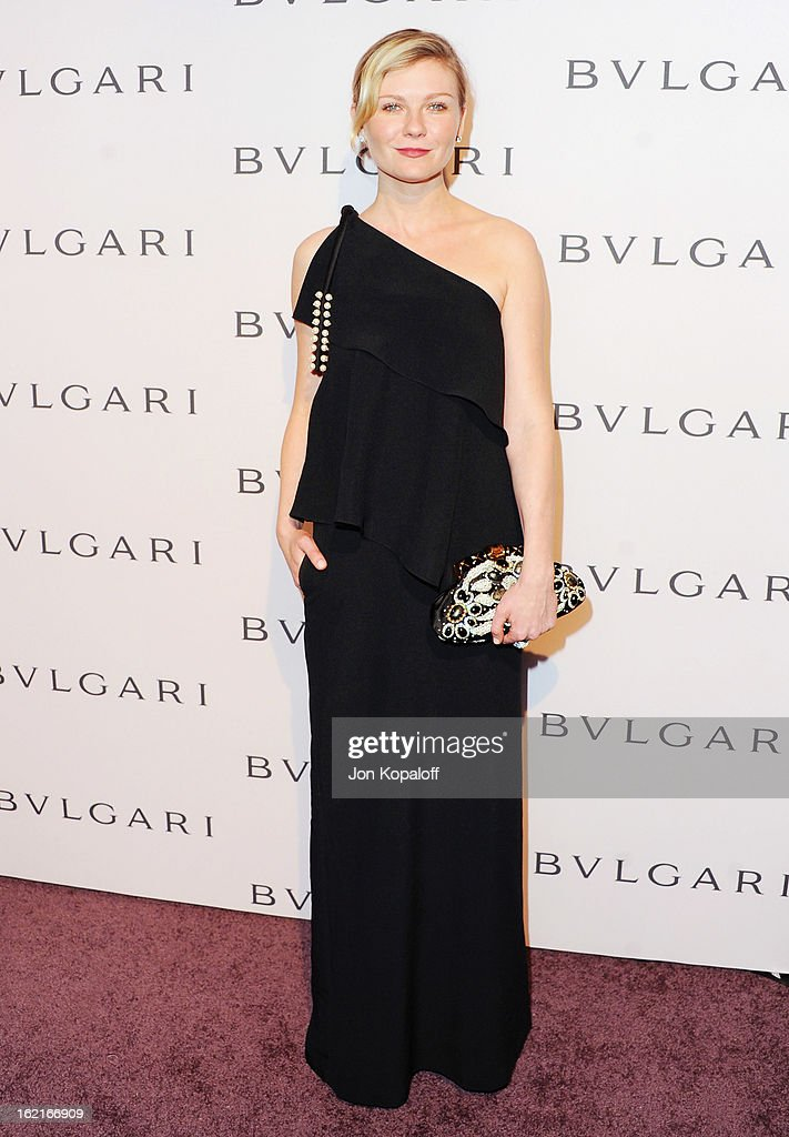 Actress Kirsten Dunst arrives at the Elizabeth Taylor Bulgari Event At The New Bulgari Beverly Hills Boutique on February 19, 2013 in Beverly Hills, California.