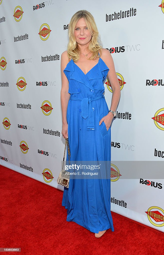 Actress <a gi-track='captionPersonalityLinkClicked' href=/galleries/search?phrase=Kirsten+Dunst&family=editorial&specificpeople=171590 ng-click='$event.stopPropagation()'>Kirsten Dunst</a> arrives at the premiere of RADiUS-TWC's 'Bachelorette' at ArcLight Cinemas on August 23, 2012 in Hollywood, California.