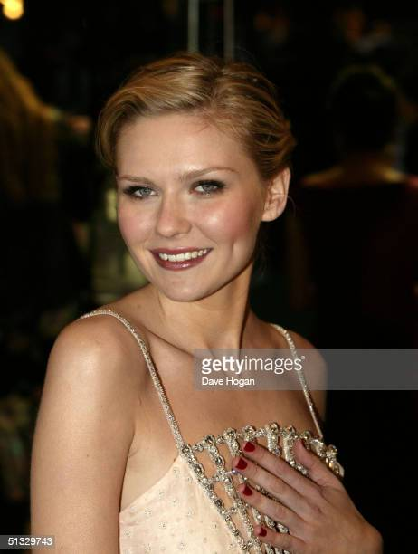 Actress Kirsten Dunst arrives at the UK Premiere of 'Wimbledon' at the Empire Leicester Square on September 20 2004 in London