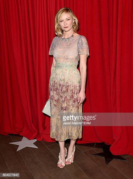 Actress Kirsten Dunst attends the 16th Annual AFI Awards at Four Seasons Hotel Los Angeles at Beverly Hills on January 8 2016 in Beverly Hills...