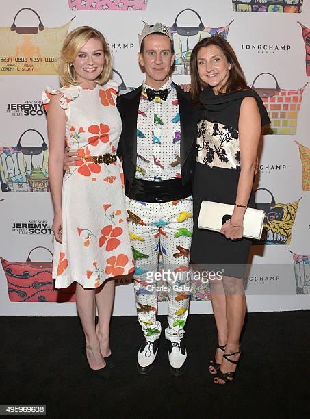 Actress Kirsten Dunst designer Jeremy Scott and Longchamp Artistic Director Sophie Delafontaine attend the Jeremy Scott for Longchamp 10th...