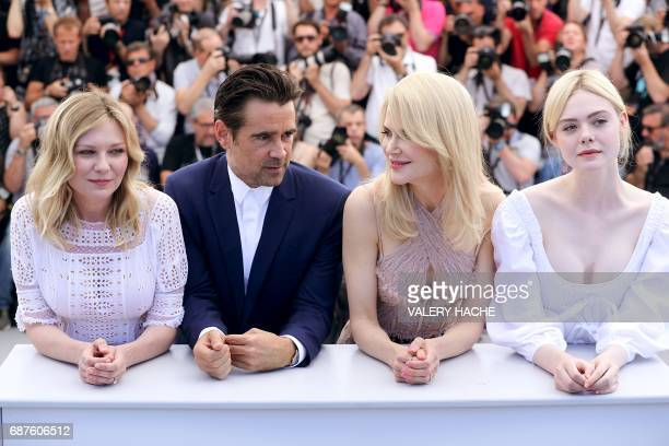 US actress Kirsten Dunst Irish actor Colin Farrell Australian actress Nicole Kidman and US actress Elle Fanning pose on May 24 2017 during a...