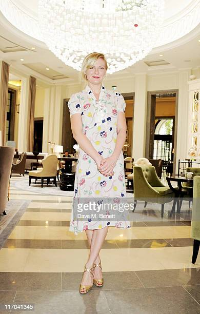 Actress Kirsten Dunst poses at Corinthia Hotel London before going to Wimbledon on June 20 2011 in London England