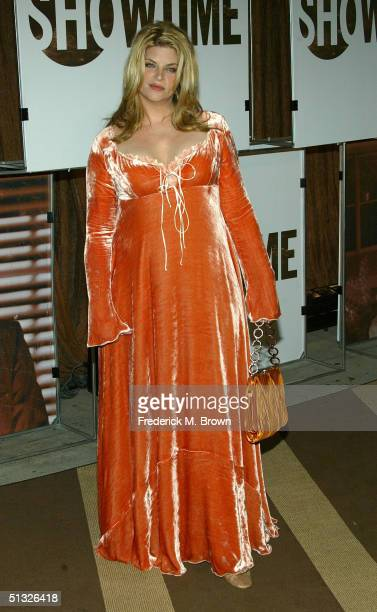 Actress Kirstie Alley arrive at the Showtime Network post 56th Annual Primetime Emmy Party at Mortons Restaurant on September 19 2004 in West...