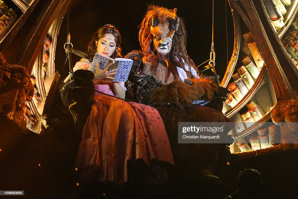 Actress Kitti Jenes performs with partner on stage during a rehearsal for the musical 'Beauty and the Beast' at Admiralspalast on November 28 2014 in...