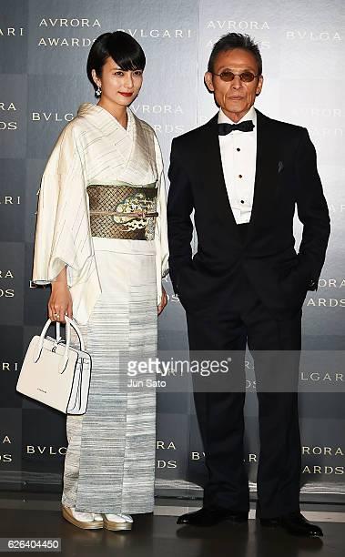 Actress Ko Shibasaki and photographer Kazumi Kurigami attend the Bvlgari Avrora Awards at the Midtown Square on November 29 2016 in Tokyo Japan