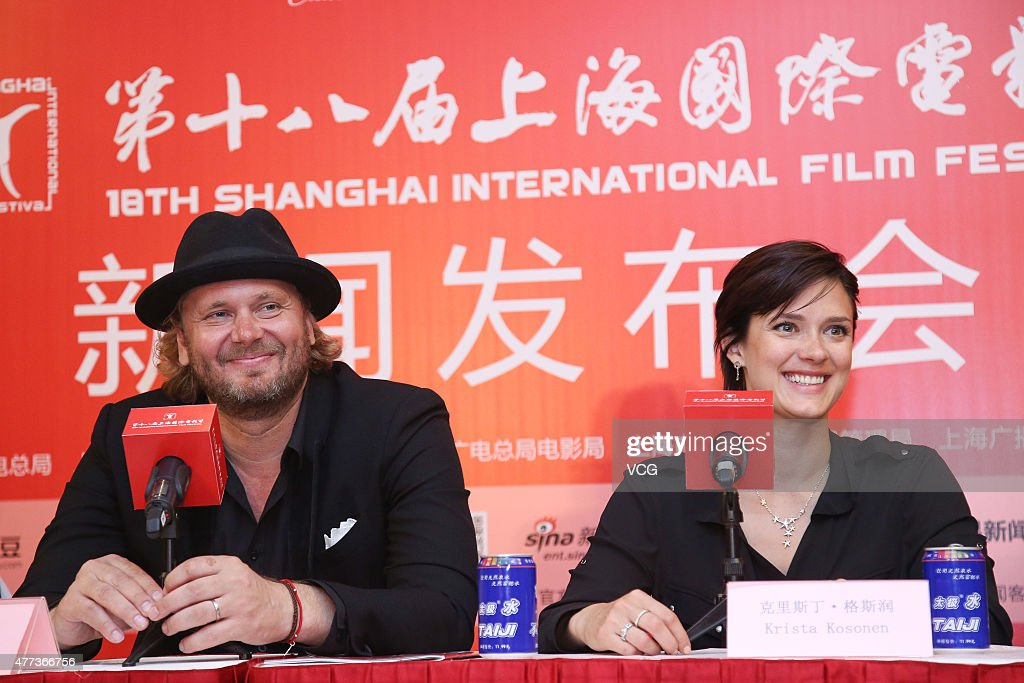 Actress Krista Kosonen and director Antti Jokinen attend 'The Midwife' press conference as part of 18th Shanghai International Film Festival at...