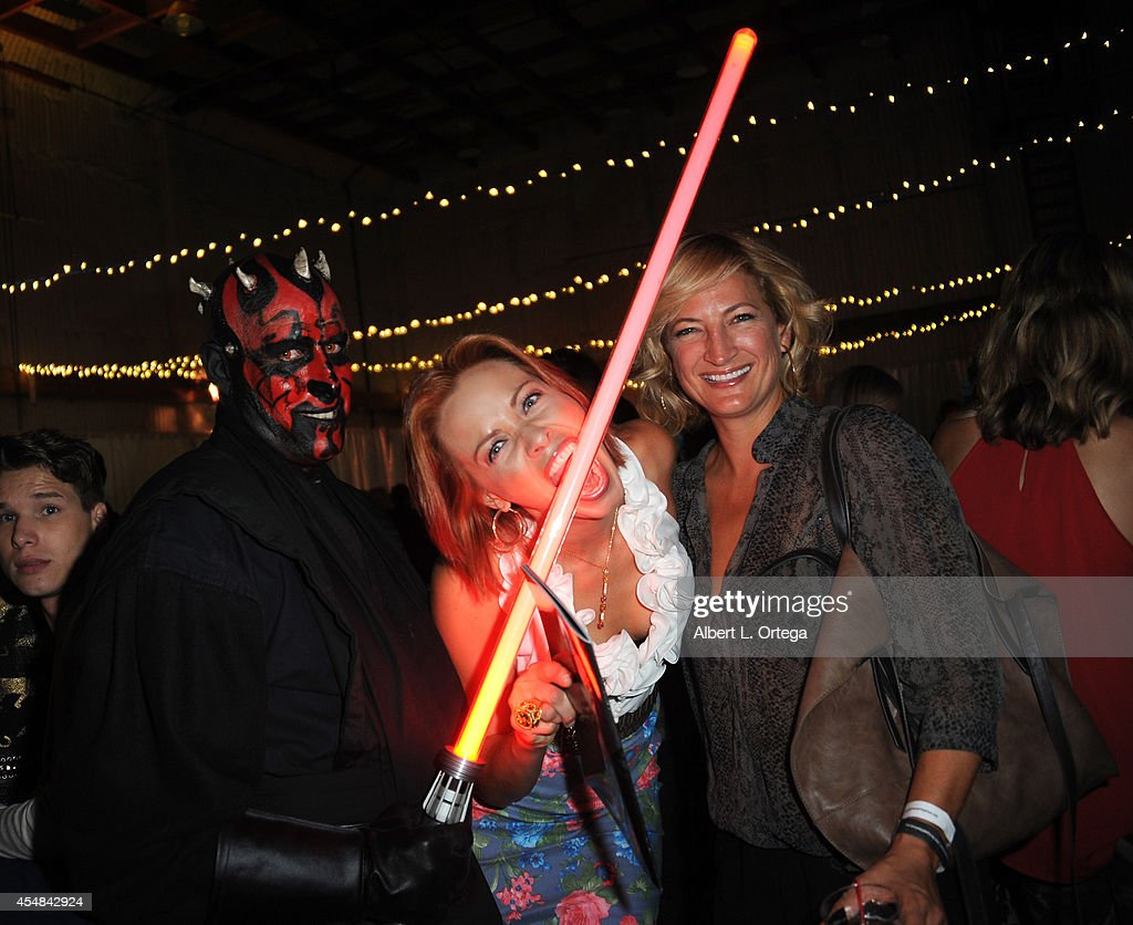 Actress Kristanna Loken and actress Zoe Bell with Darth Maul of the Darkside Riders at the Night of Science Fiction Fantasy Horror After Party in...