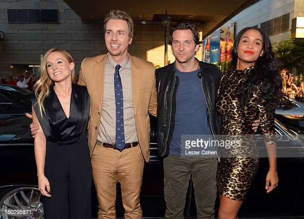 Actress Kristen Bell actor/writer Dax Shepard actors Bradley Cooper and Joy Bryant arrive at the Los Angeles premiere of 'Hit Run' on August 14 2012...