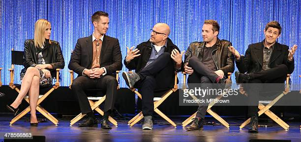 Actress Kristen Bell and actors Jason Dohring Enrico Colantoni Ryan Hansen and Chris Lowell speak during The Paley Center for Media's PaleyFest 2014...