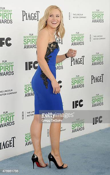 Actress Kristen Bell arrives at the 2014 Film Independent Spirit Awards on March 1 2014 in Santa Monica California