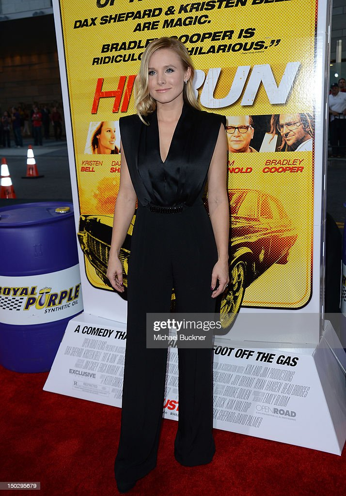 Actress <a gi-track='captionPersonalityLinkClicked' href=/galleries/search?phrase=Kristen+Bell&family=editorial&specificpeople=194764 ng-click='$event.stopPropagation()'>Kristen Bell</a> arrives at the premiere of Open Road Films' 'Hit & Run' at the Regal Cinemas L.A. Live on August 14, 2012 in Los Angeles, California.