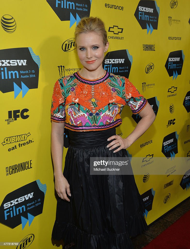 Actress <a gi-track='captionPersonalityLinkClicked' href=/galleries/search?phrase=Kristen+Bell&family=editorial&specificpeople=194764 ng-click='$event.stopPropagation()'>Kristen Bell</a> arrives at the premiere of 'Veronica Mars' during the 2014 SXSW Music, Film + Interactive Festival at the Paramount Theatre on March 8, 2014 in Austin, Texas.