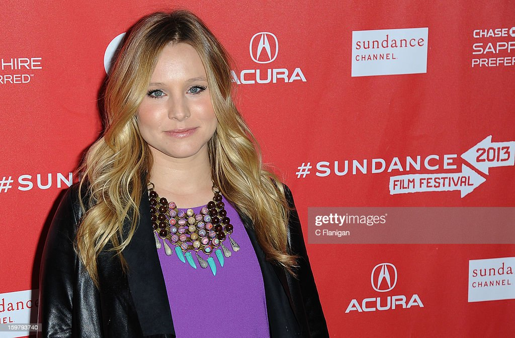Actress <a gi-track='captionPersonalityLinkClicked' href=/galleries/search?phrase=Kristen+Bell&family=editorial&specificpeople=194764 ng-click='$event.stopPropagation()'>Kristen Bell</a> arrives for 'The Lifeguard' Premiere at Library Center Theater on January 19, 2013 in Park City, Utah.