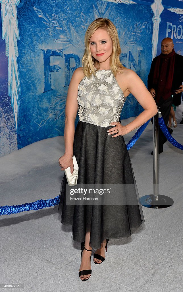 Actress <a gi-track='captionPersonalityLinkClicked' href=/galleries/search?phrase=Kristen+Bell&family=editorial&specificpeople=194764 ng-click='$event.stopPropagation()'>Kristen Bell</a> attends the premiere of Walt Disney Animation Studios' 'Frozen'at the El Capitan Theatre on November 19, 2013 in Hollywood, California.