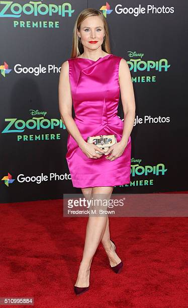 Actress Kristen Bell attends the Premiere of Walt Disney Animation Studios' 'Zootopia' at the El Capitan Theatre on February 17 2016 in Hollywood...