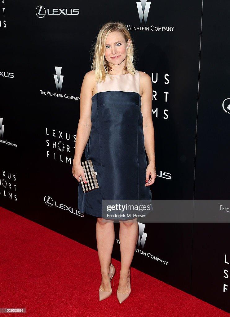 Actress <a gi-track='captionPersonalityLinkClicked' href=/galleries/search?phrase=Kristen+Bell&family=editorial&specificpeople=194764 ng-click='$event.stopPropagation()'>Kristen Bell</a> attends The Weinstein Company and Lexus Presents Lexus Short Films at the Regal Cinemas L.A. Live on July 30, 2014 in Los Angeles, California.
