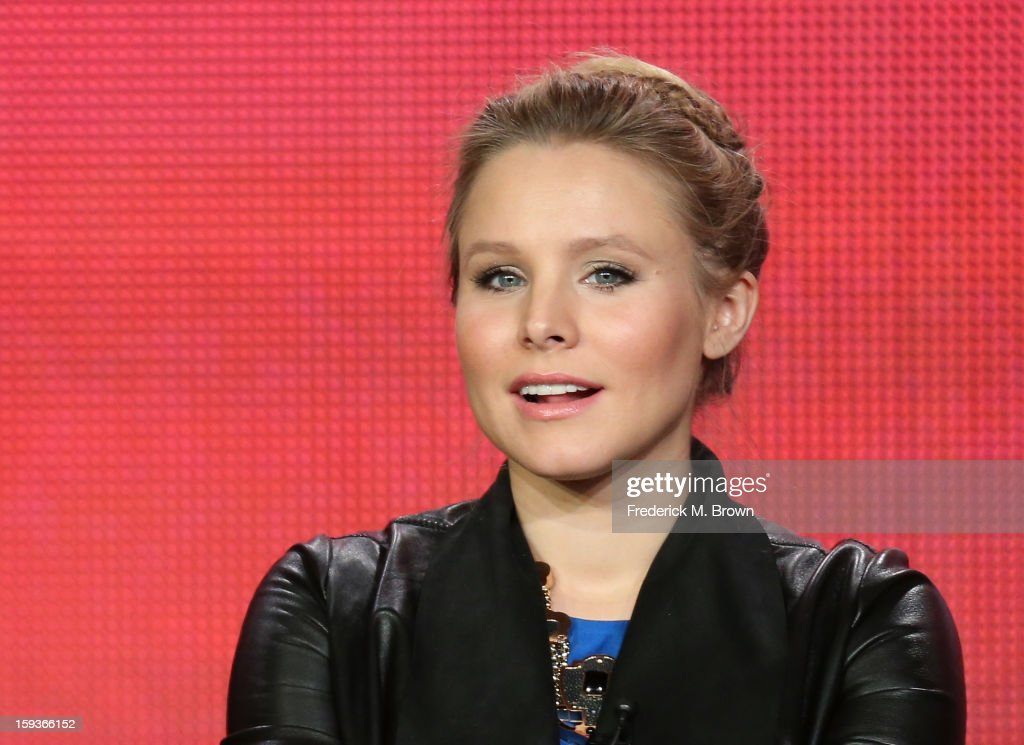 Actress <a gi-track='captionPersonalityLinkClicked' href=/galleries/search?phrase=Kristen+Bell&family=editorial&specificpeople=194764 ng-click='$event.stopPropagation()'>Kristen Bell</a> of 'House of Lies' speaks onstage during the Showtime portion of the 2013 Winter TCA Tour at Langham Hotel on January 12, 2013 in Pasadena, California.