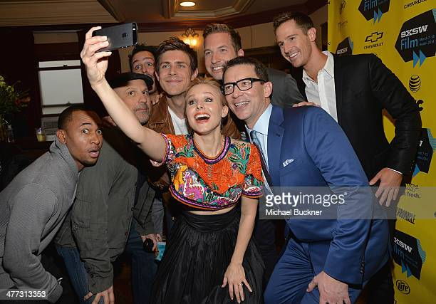 Actress Kristen Bell poses for a selfie with cast members Percy Daggs Enrico Colantoni Chris Lowell Ryan Hansen Jason Dohring and director Rob Thomas...